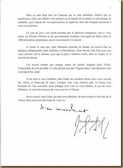 lettre sarkosy à  Guilad